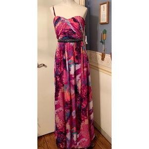 Calvin Klein Size 4 Purple Multicolored Gown